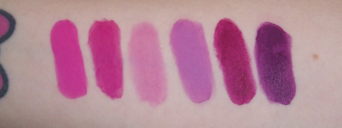 MAC Lipstick Collection Candy Yum-Yum, Pink Poodle, Snapdragon, Dodgy Girl, Rebel, Pure Heroine