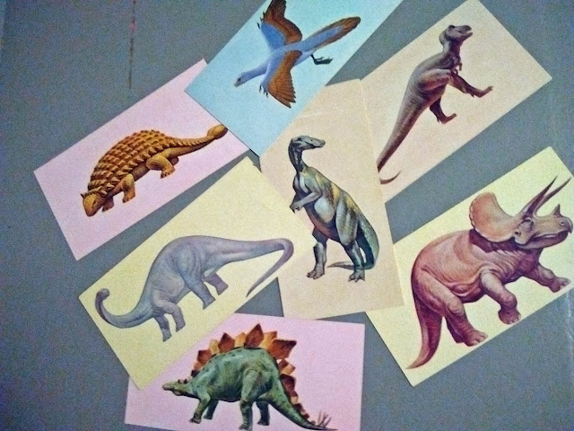 Dinosaur flash cards from about 1968