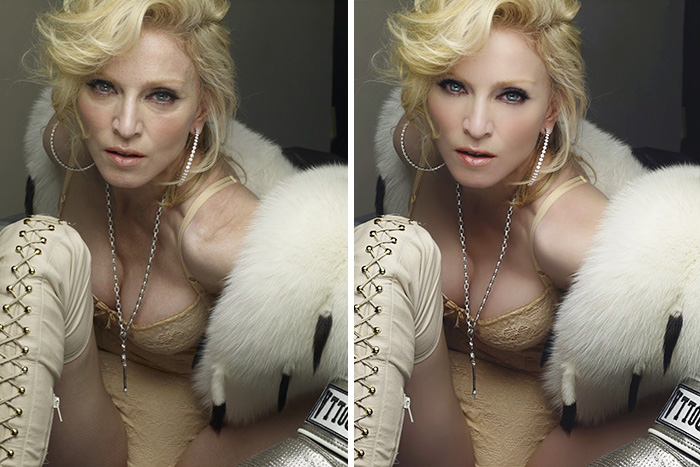 20 Before & After Images Of Celebs Reveal Society's Unrealistic Standards Of Beauty - Madonna