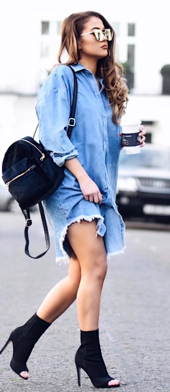amazing outfit: denim dress + bag + heels