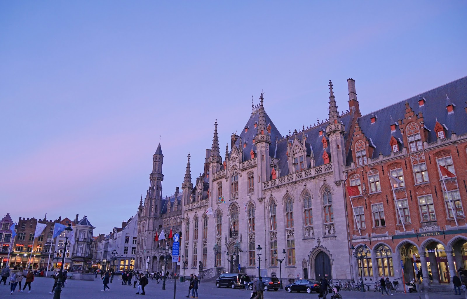 Bruges Market Square at sunset