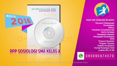 Jual RPP Sosiologi SMA Kelas 10 Kurikulum 2013 Edisi Revisi 2016
