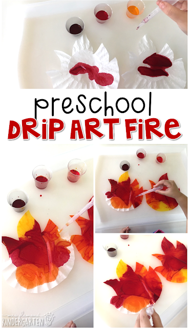 This drip art fire is an adorable craft that incorporates lots of fine motor skills practice. Great for tot school, preschool, or even kindergarten!