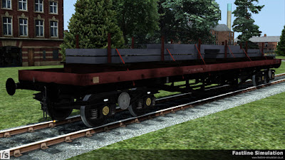 Fastline Simulation: Built to the final design code used for the BDA conversions, BD006D, this bolster has faded Railfreight livery and a load of steel slabs.