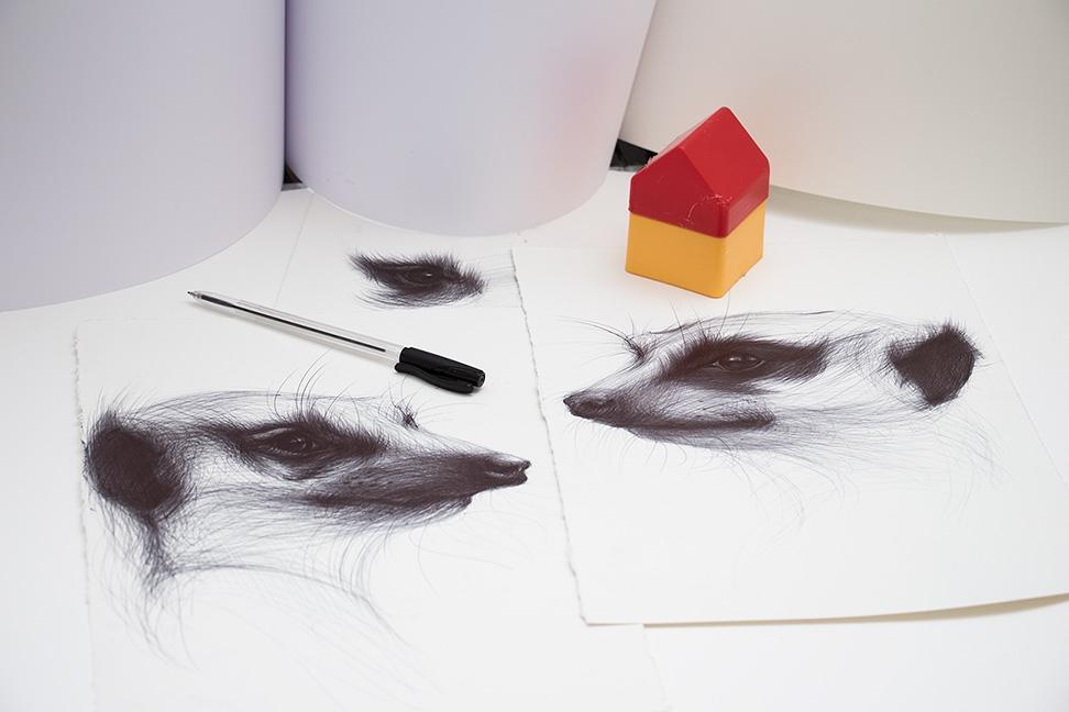 08-Meerkats-Yelena-Yefimova-Animals-Drawn-with-Ballpoint-Pens-www-designstack-co