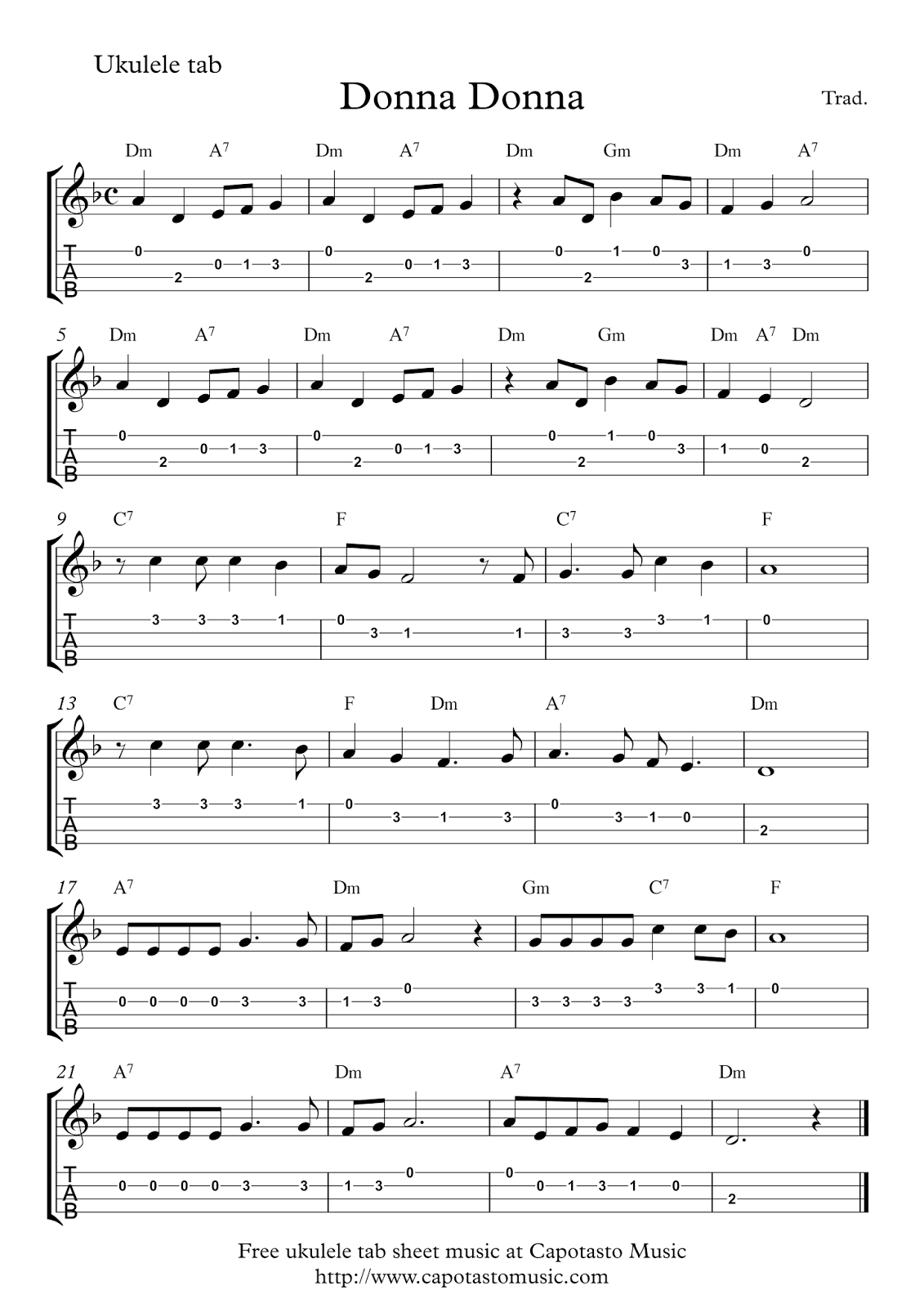 Donna Donna Free Easy Ukulele Tablature Sheet Music