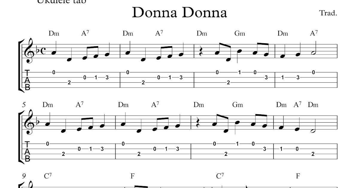 Donna Donna : Free easy ukulele tablature sheet music