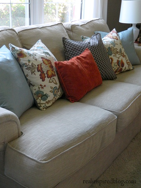 Fall Home Tour {2014} Orange and Blue Pillows