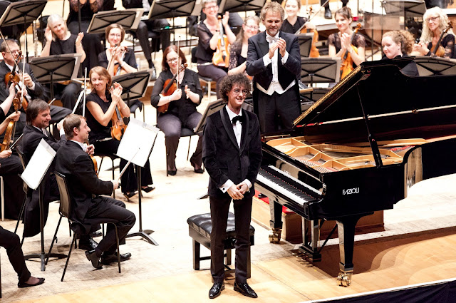 Can Çakmur, winner of the Scottish International Piano Competition, at the final with Thomas Sondergard and the Royal Scottish National Orchestra