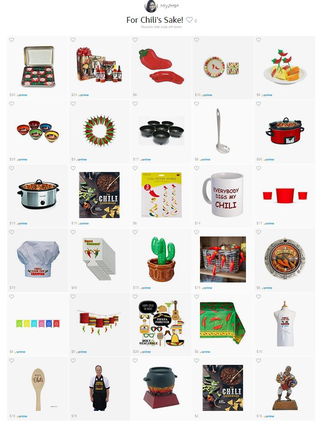 For Chili's Sake! Amazon Idea List