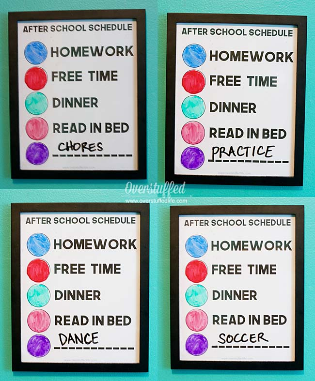 color coded after school schedule for kids | erasable | after school routine clock | Ideas for keeping kids on task after school