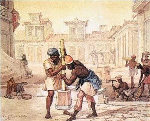 Escravos trabalhando, pintura de Debret.