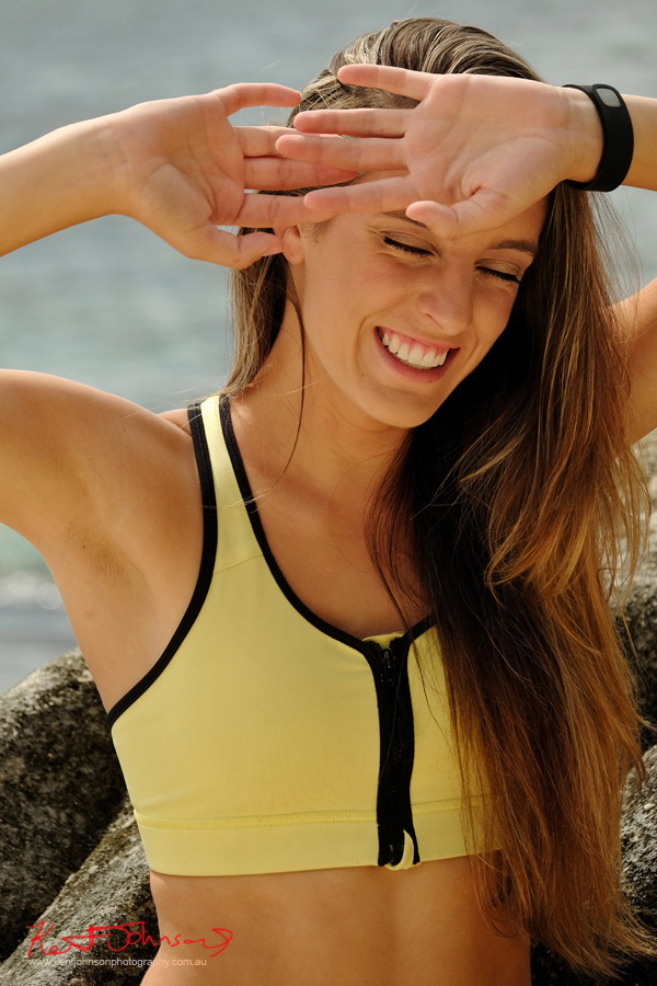 Fitness and smiles, on location, bright and sunny. Modelling and Casting portfolio photography in Sydney by Kent Johnson.