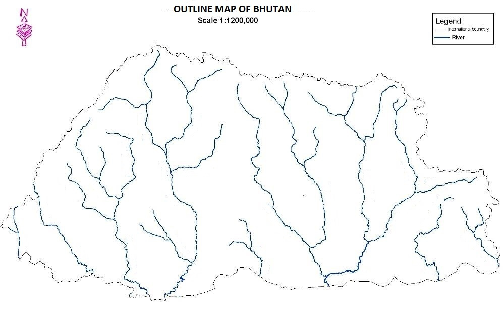 Karma Wangda Tokorongpa OUTLINE MAP OF BHUTAN - Map of bhutan