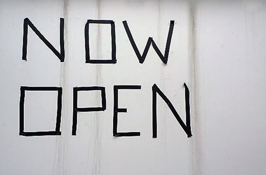 homemade sign - now open - photography