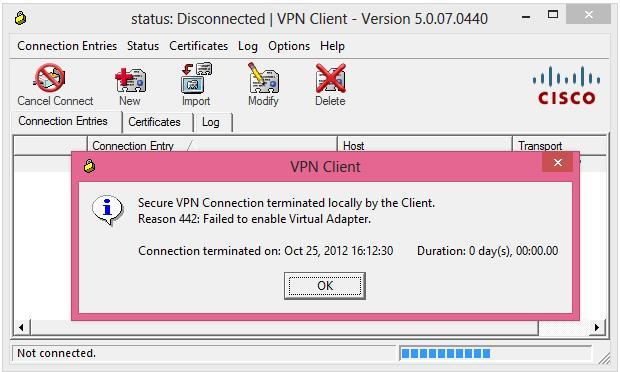 Windows 8: CISCO VPN Error 442 in Windows 8