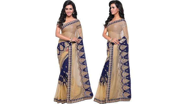 Rola Trendz Embroidered, Self Design, Solid Fashion Georgette, Net Saree  (Dark Blue, Beige)