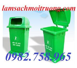 Thùng rác nhựa 95 lít, thùng rác công nghiệp, thùng rác nắp mở giá rẻ