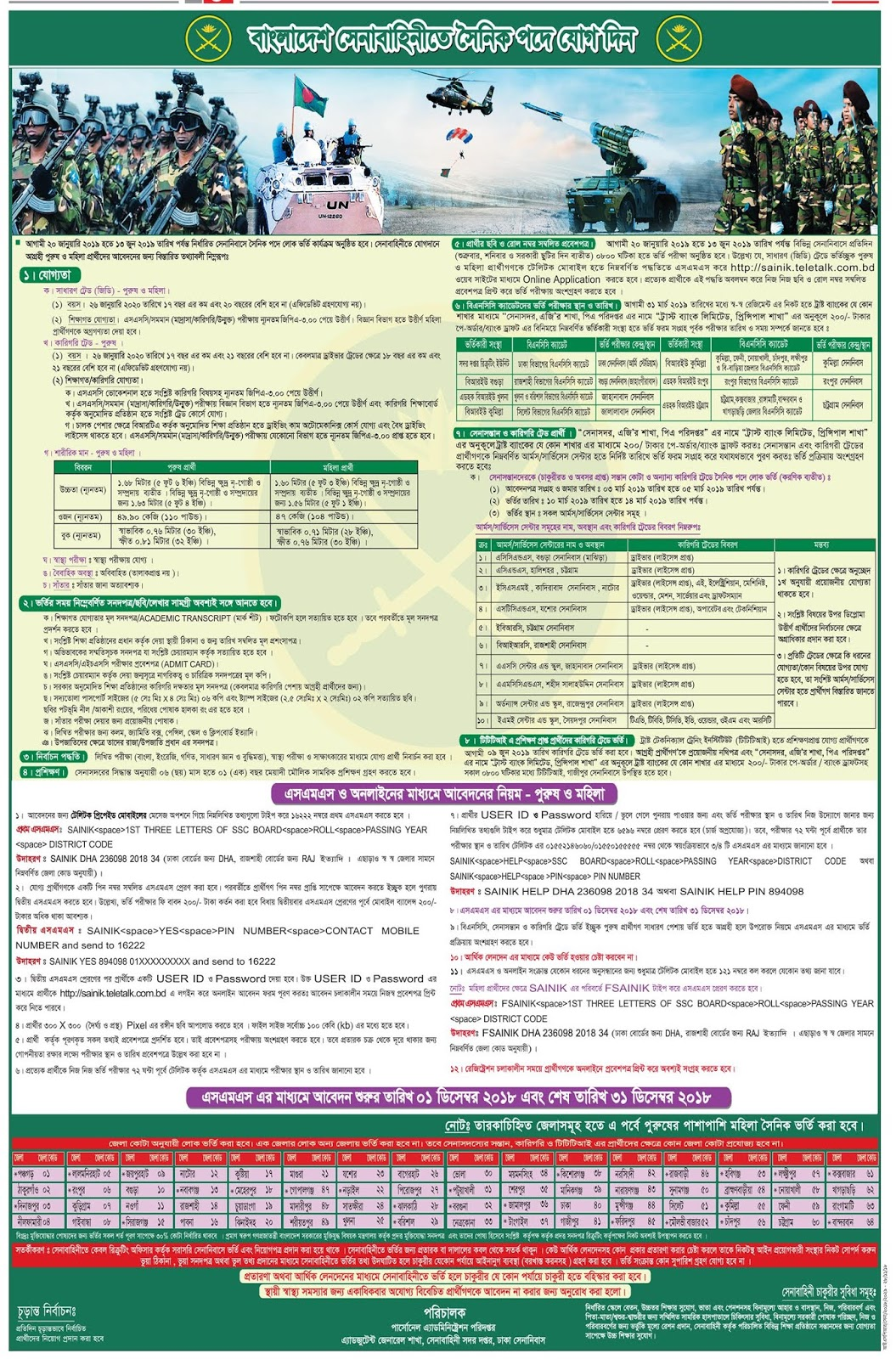Bangladesh Army Sainik Recruitment Circular 2018