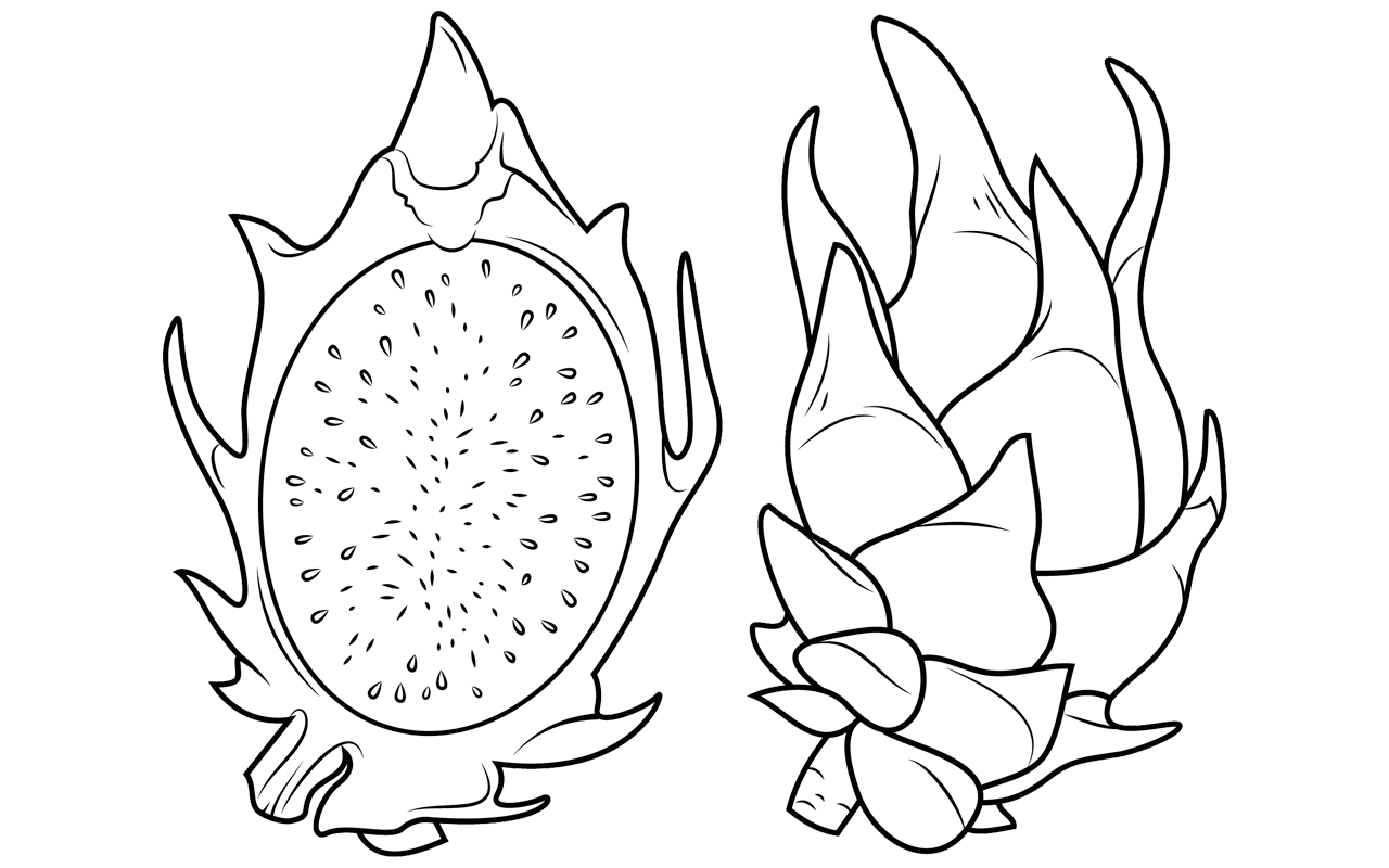 Banana Cherry Coloring Page Coconut Dragon Fruit