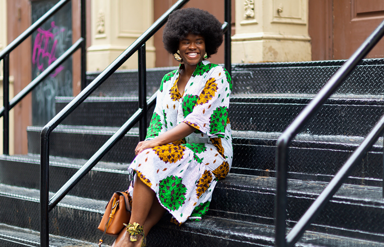 Blogger wearing Ankara dress 2018