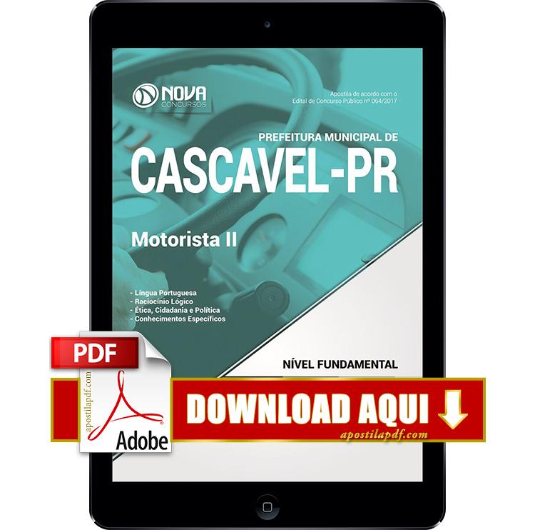 Apostila Prefeitura de Cascavel 2017 Motorista PDF Download