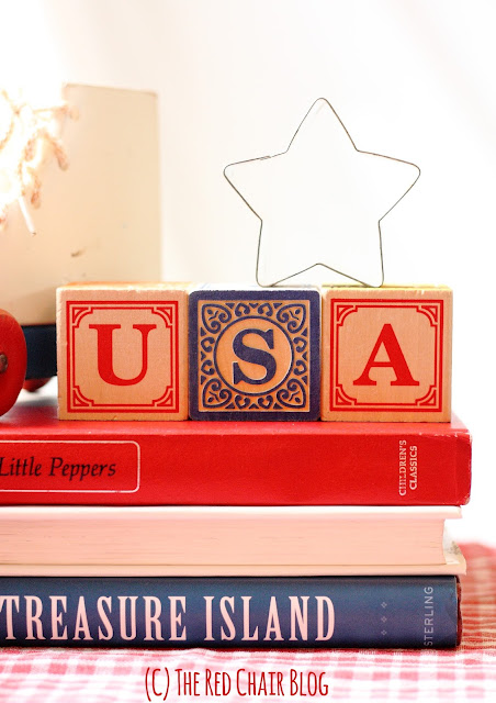 Easy DIY 4th Fourth of July decorating ideas using common household items from The Red Chair Blog