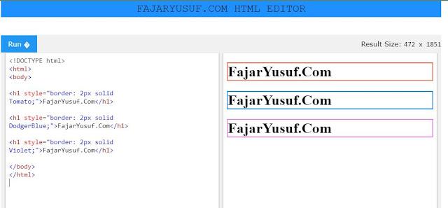 Warna Border pada HTML