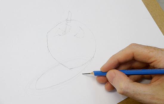 adım adım karakalem ile elma çizimi