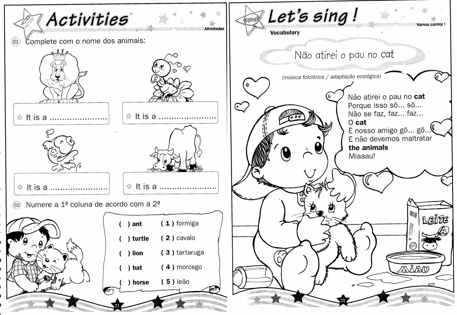 Famosos Atividades Em Ingles Para Criancas Vl72