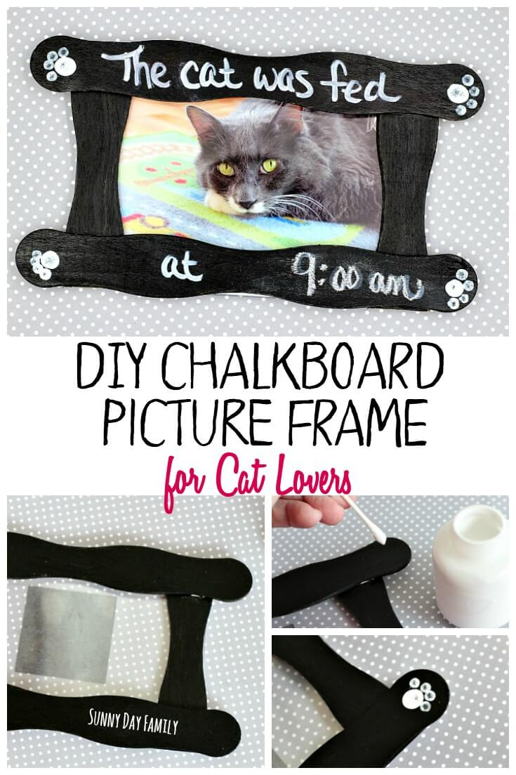 This easy DIY chalkboard picture frame is the perfect way to track your cat's meals! Make a personalized cat picture frame for yourself or as a perfect gift for cat lovers!
