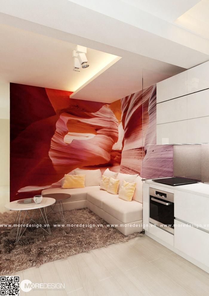 Thiết kế căn hộ 60m2 2 phòng ngủ đẹp
