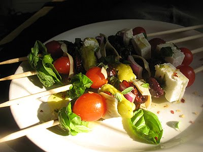 Greek salad on a bamboo stick