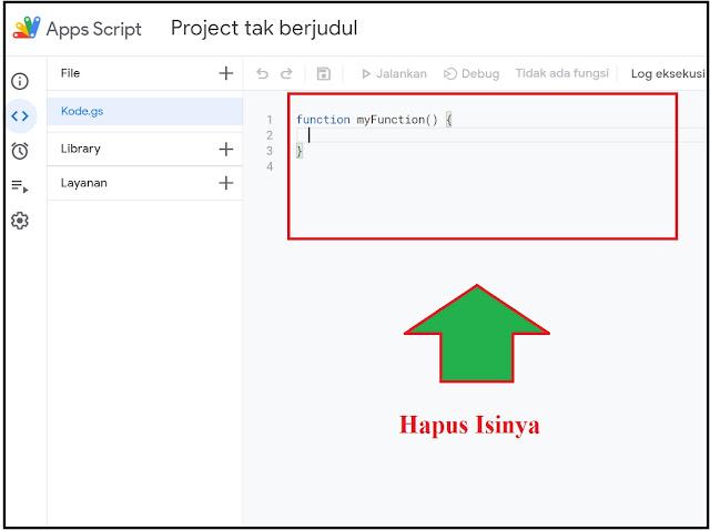 hapus isi code google script