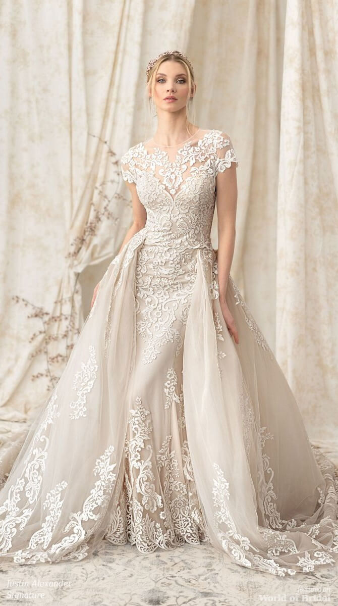 a0618fce230 Justin Alexander Signature Spring 2018 Fit and Flare Gown with Voluminous  Detachable Train