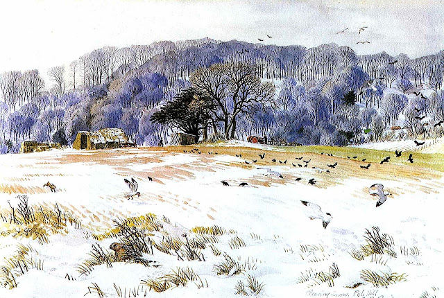 S.R. Badmin illustration of a farm in winter
