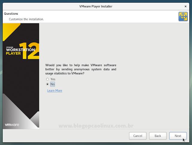 Você deseja que o VMware Workstation Player envie informações anônimas sobre o seu sistema e as estatísticas de uso do programa à VMware?