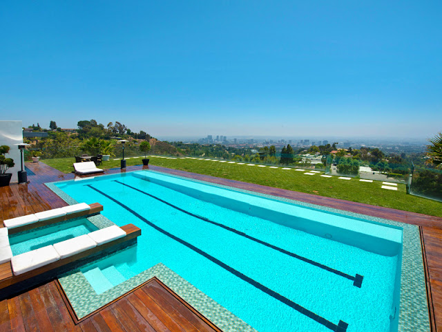 Photo of the pool area at the Bel Air modern residence with Los Angeles view