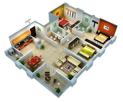 Tampilan 3D Desain Rumah Minimalis Dengan 3 Kamar Tidur Sederhana 6