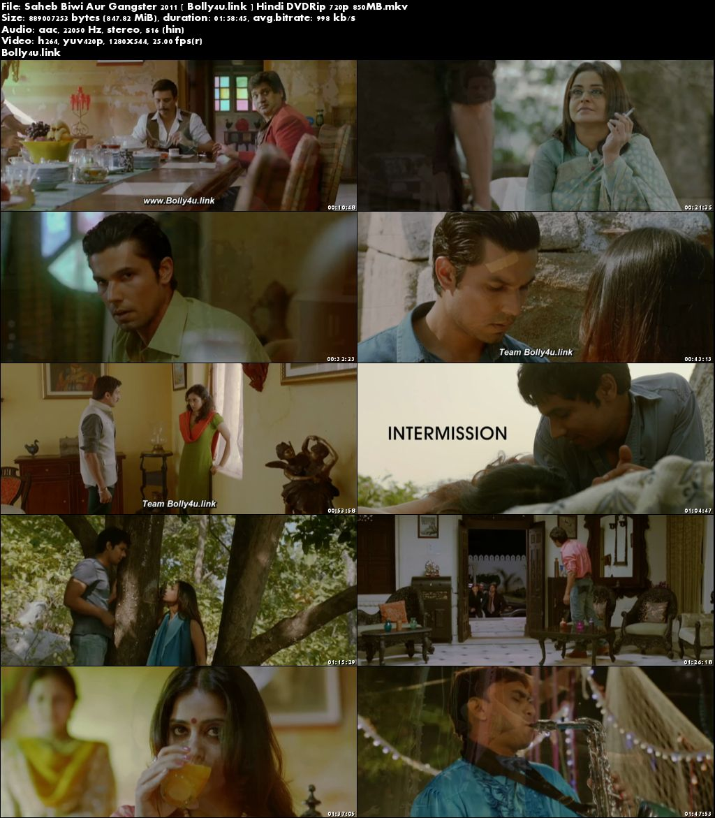 Saheb Biwi Aur Gangster 2011 DVDRip 850MB Hindi 720p Download