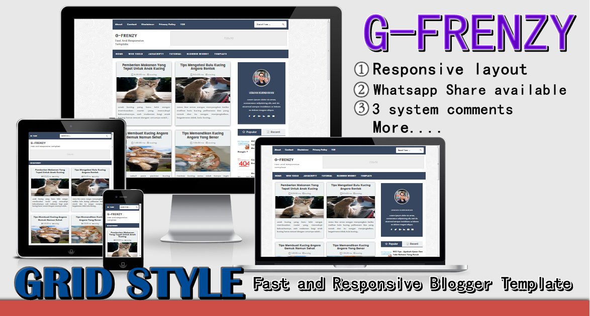 G-FRENZY Fast and Responsive Blogger Template 2017