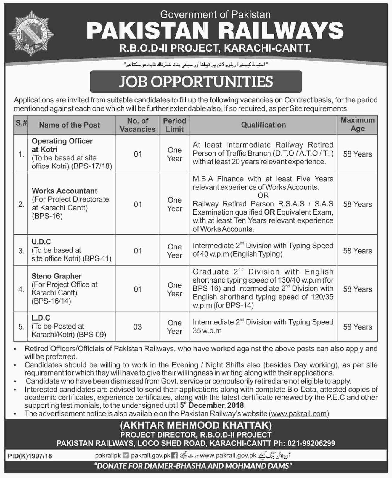 Works Accountant jobs in Pakistan Railways in Karachi 2018