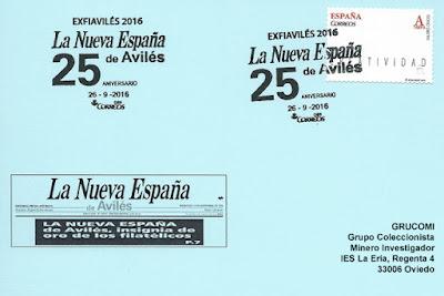 Tarjeta del matasellos de los 25 años de La Nueva España de Avilés