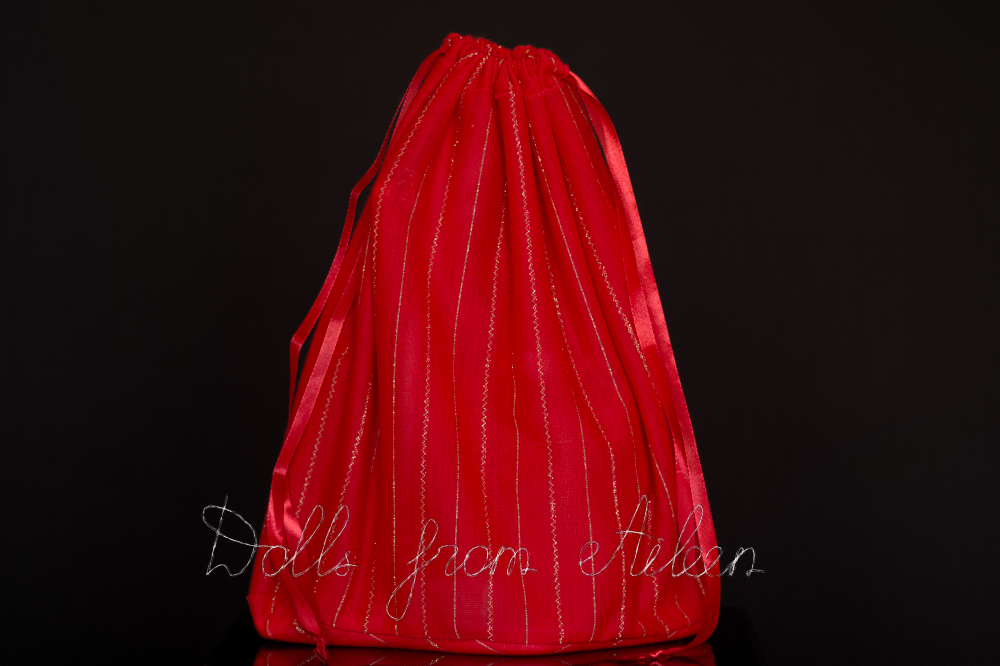 Red and gold gift bag containing Santa Claus doll