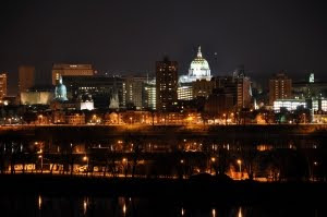 The City of Harrsiburg Pennsylvania at Night