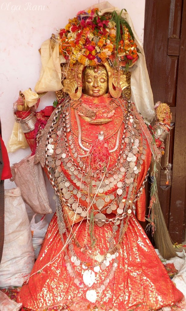 Hindu Goddess adorned with jewelry, Sankhu, Nepal
