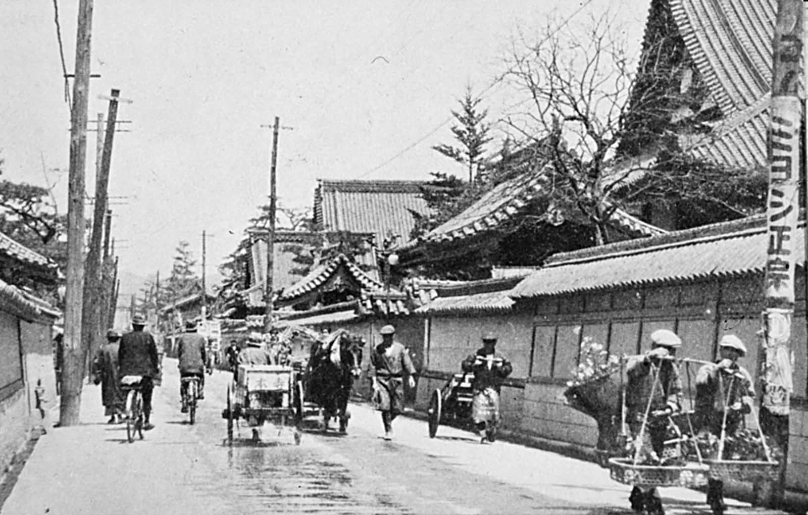 Looking northeast along Teramachi, the Street of Temples, in pre-war Hiroshima. This district was completely ruined.