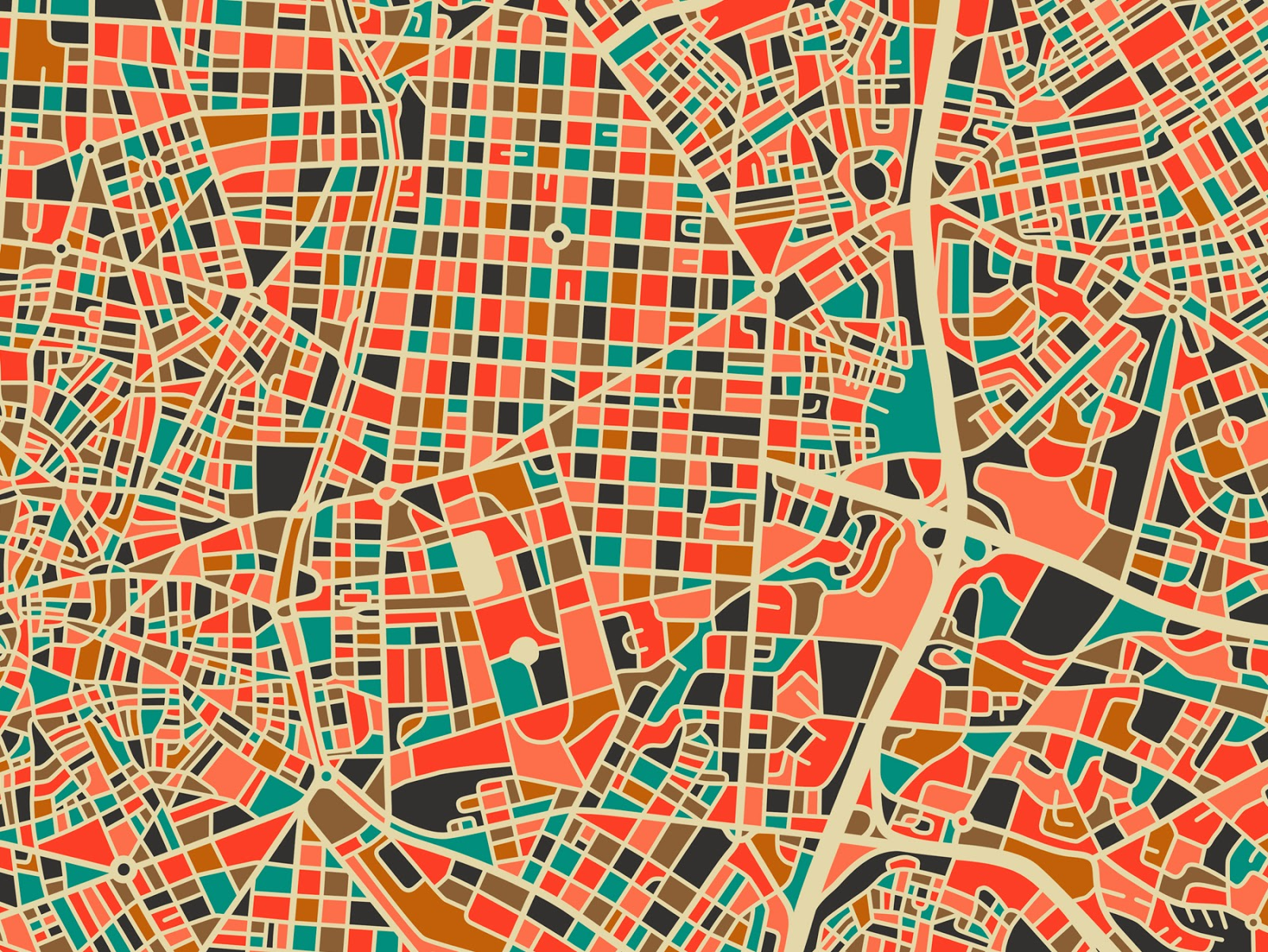 Madrid (zoom) ©Jazzberry Blues - City Maps. Ilustración | Illustration