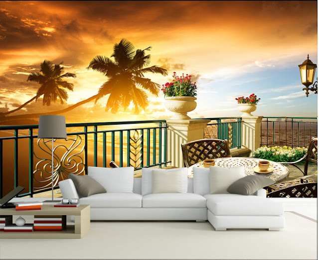 Tropical Wall Murals Beach Ocean 3D Photo Wallpaper Balcony Sunset