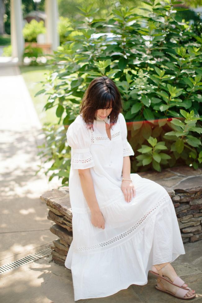 white midi dress, white summer dress